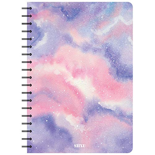 Siixu Spiral Notebook/Journal/Diary, B5 Composition Coil Daily, College Ruled Paper, Astronomy Note Book for School/Office, Unique Pretty Design, 136 Pages, Pink, Star Rover
