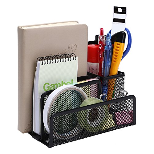 TOROTON Office Supply Caddy, 3 Compartments Mesh Metal Office Desk Organizer Letter Tray with Pen Pencil Holder -Black Tray with Pen Pencil Holder -Black