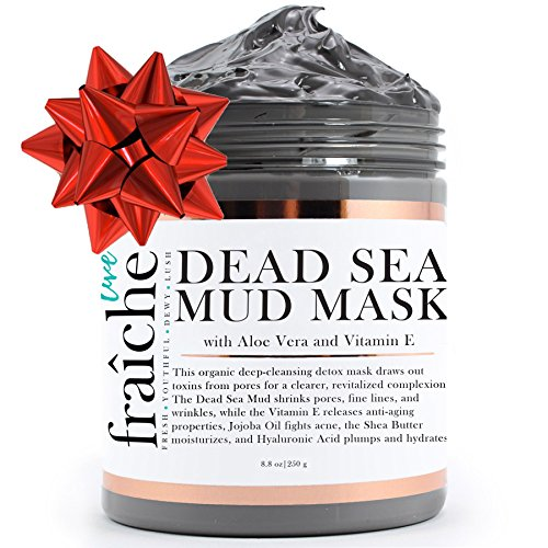 Live Fraiche Organic Dead Sea Mud Mask Facial & Body Cleanser- 8.8oz -Fight breakouts acne blackheads & Reduce Pores/Lines/Wrinkles - pure & natural to tighten & tone see clearer brighter younger skin