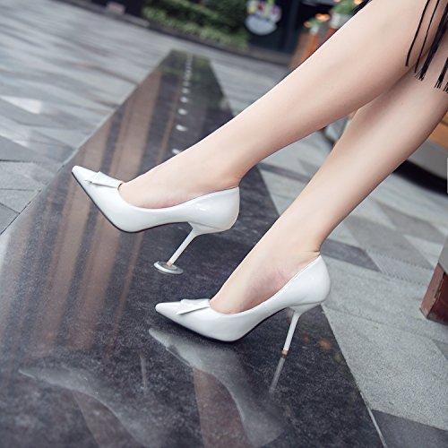 singles de Heel White Punta del Shoes tacón pajarita high señaló femeninos 5 zapatos 9 con fino zapatos de cm qpZz1x