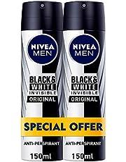 Nivea Black and White Deodrant Spray for Men, 2 x 150ml