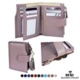 Befen Women's RFID Blocking Wallet Full Grain Leather Small Compact Bifold Leather Coin Purse Front Pocket Mini Wallet Card Holder With 16 Card Slot - with Gift Box - Coral Pink