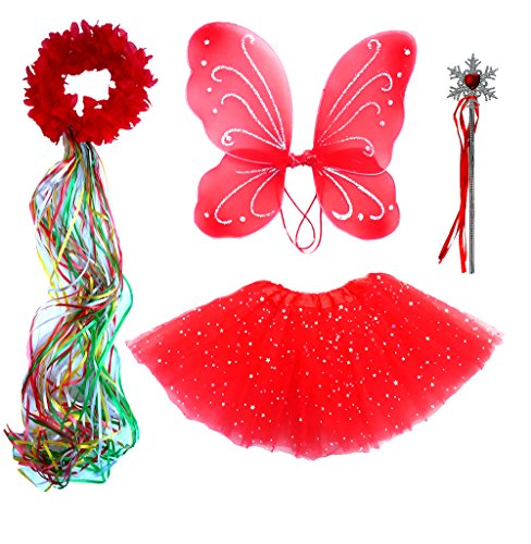Girls Red Holiday Fairy Wings, Tutu, Wand, Halo Fits Age 3-8 (Fairy Tale Costumes For Girls)
