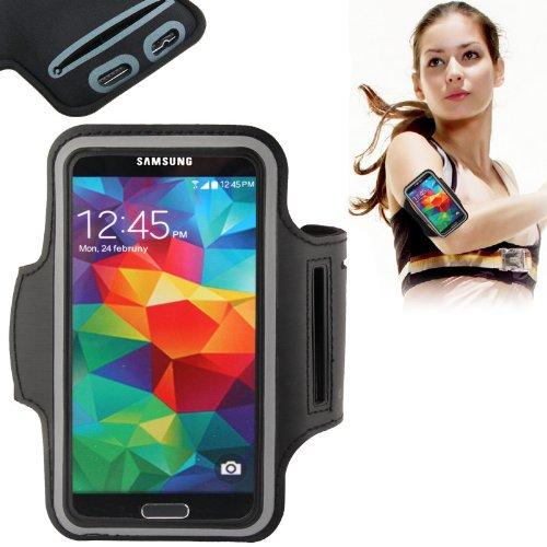 Eloja® Sport Armband Neopren Tasche Armtasche, Schwarz Sportarmband Hülle Handytasche für Samsung Galaxy S7 S6 Edge S5 S4 S3 mit Schlüsselfach und praktischem Klettverschluss, jetzt mit Verlängerungsstrip