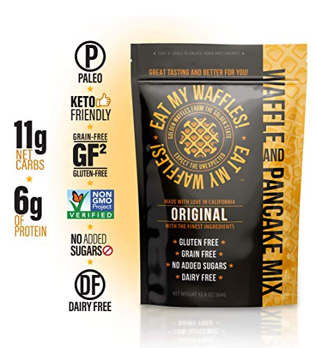 Eat My Waffles - Keto Friendly, Paleo Friendly, Gluten Free, Dairy Free and Grain-Free | Waffle Mix made with Almond Flour and No Added Sugars or Other Additives - 12.8 oz, Original Flavor