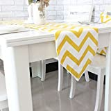 yellow linen cabinet - Uphome 1pc Classical Chevron Zig Zag Pattern Table Runner - Cotton Canvas Fabric Table Top Decoration, Yellow and White
