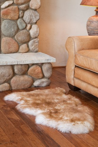 Long Wool Sheepskin Rug (Overland Single-Pelt Australian Sheepskin Rug, BROWN TIP, Size 1 Size)