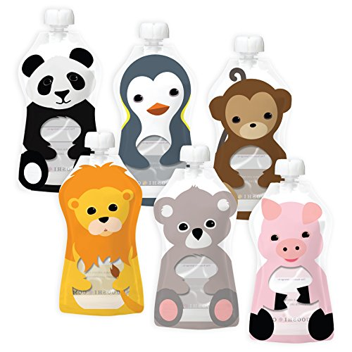 Large Product Image of Squooshi Reusable Food Pouch | Animal 6 Pack | 6 Large Pouches