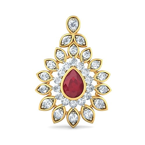 Or jaune 18 K 2.14 carat au total White-diamond (IJ | SI) et rubis Boucles d'oreille
