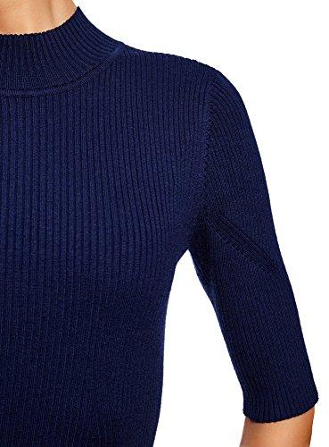 Collo Maglione Donna 7902n con Coste Ultra Blu a oodji a Lupetto YZF6qwx