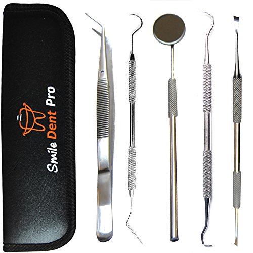 Dental Tools Smile Dent Pro Kit, Stainless Steel Dental Scaler, Mouth Mirror, Tarter Scraper, Tooth Pick, Tweezers, Plaque And Calculus Remover Dentist Hygiene Instruments Set For Home & Pet Oral Use (Take Home Teeth Whitening Kit From Dentist)