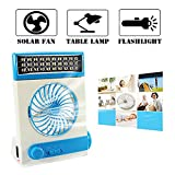 fan with solar panel - Ansee 3 in 1 Multi-functional Solar Cooling Table Fans with Eye-Care LED Table Lamp Flashlight Solar Panel Adaptor Plug for Home Use Camping (Blue)