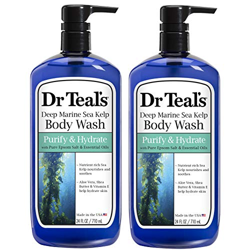 Dr Teal's Epsom Salt Bath and Shower Body Wash with Pump - Deep Marine Sea Kelp and Essential Oils - Purify and Hydrate - Pack of 2, 24 Oz ea - Moisturize Your Skin, Relieve Stress and Sore Muscles