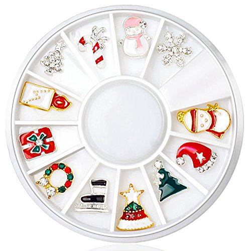 (3D Nail Art Decor Accessories Wheel with DIY Rhinestones Metal Studs, Christmas Theme)