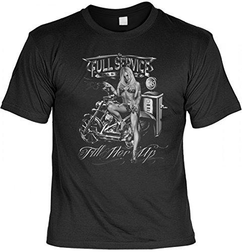 T-Shirt Motiv - Full Service Fill Her Up - Super Idee für echte Biker - Auch als Geschenk passend - Schwarz