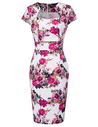 Belle Poque Retro Dress Women White Floral Vintage Pencil Skirt S CL7597-25