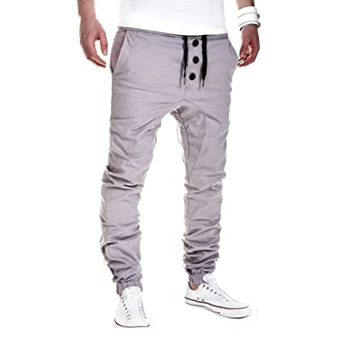 Pantalon Homme,Sonnena Pantalons de Sport Sarouel en Vrac Casual Sweat  Pantalons Mode Hip-Pop Cordon de Serrage Baggy Style Pants Classique Coton   ... c6d23b8e7e99
