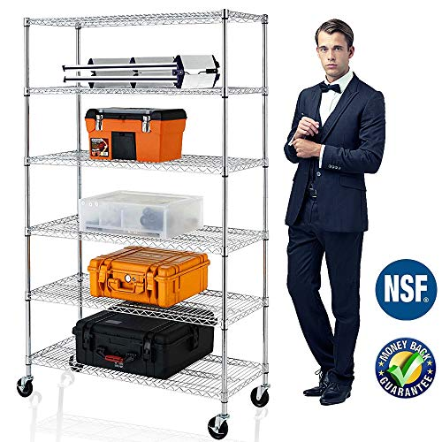 Payhere 6 Tier Metal Wire Shelving Unit with Wheels, Adjustable Steel Storage Rack, 3600 LBS Capacity, 76