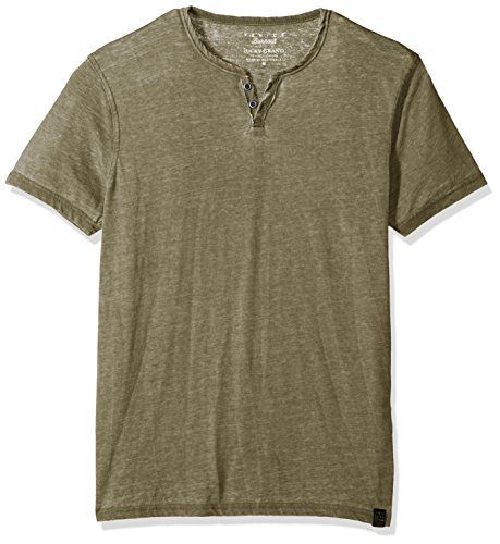 Lucky Brand Men#039s Burnout Button Notch Neck Shirt Dark Olive XXL