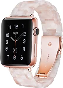 Light Apple Watch Band - Fashion Resin iWatch Band Bracelet Compatible with Copper Stainless Steel Buckle for Apple Watch Series SE Series 6 Series 5 Series 4 Series 3 Series 2 Series1 (Flower Pink, 38mm/40mm)