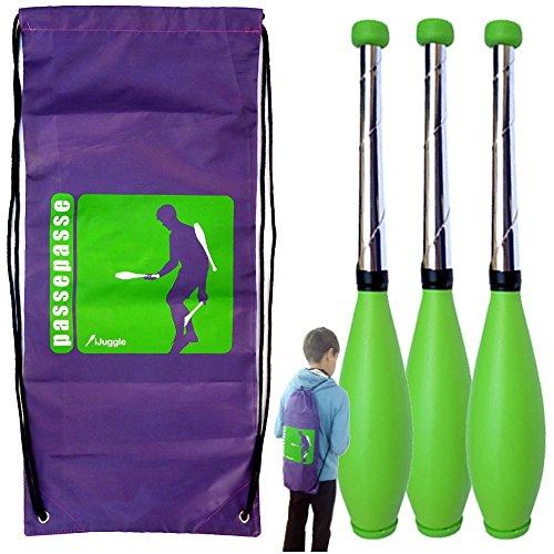 Kit 3 Perpetual Jonglierkeulen 5 und 9 Jahren, 45cm Green + Rucksack