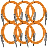 Seismic Audio SASTSX-3Orange-6PK 3-Feet TS 1/4-Inch Guitar, Instrument, or Patch Cable, Orange