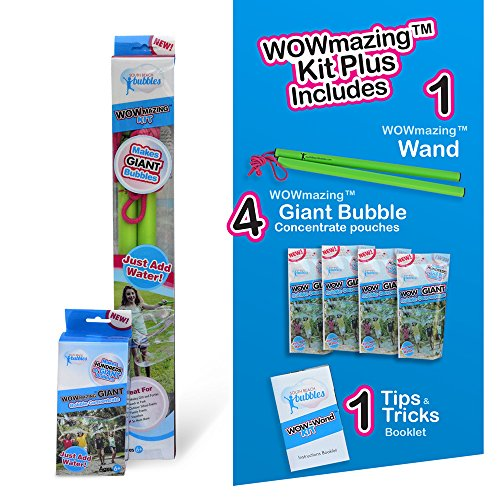 WOWmazing Kit Plus - GREAT VALUE - Big bubbles kit including Big Bubbles Wand and Giant Bubbles Solution Concentrate (Makes 1 gallon of LARGE Bubbles)
