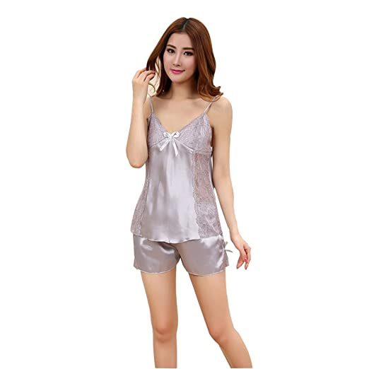 Gsha Ladies Satin Pajamas Set Spring Autumn Nightwear Sleepwear Camisole and Short Set