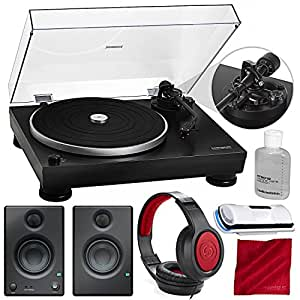 Audio-Technica Consumer AT-LP5 Direct-Drive Turntable (USB & Analog) with PreSonus Eris E3.5 Multimedia Reference Monitors (Pair) and Accessory Bundle