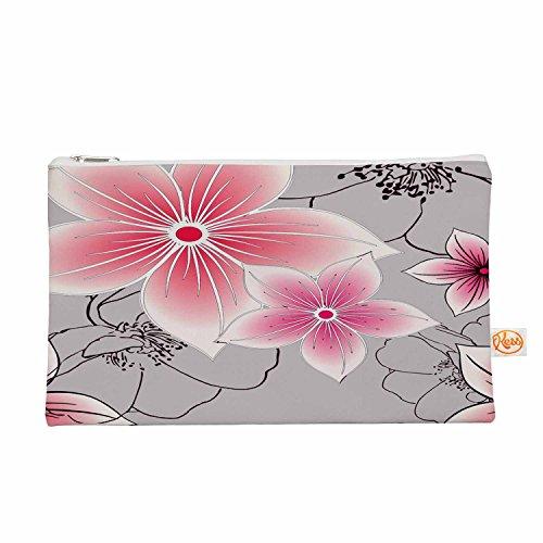 Kess eigene 12,5x 21,6cm Alison Coxon Grau und Pink Floral Alles-Tasche, Grau/Pink