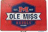 TIN SIGN 12'' x 18'' Ole Miss Rebels College Mississippi Retro Rustic Metal Decor Tinworld B189