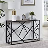 "Homissue 30"" Height Console Sofa Table with Sturdy Criss-cross Design for Hallway/Living Room/Entryway, Retro Brown Review"