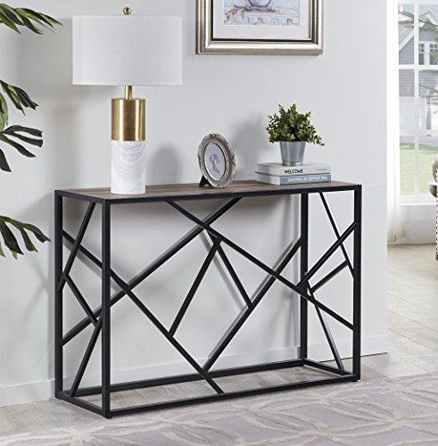 "Homissue 30"" Height Console Sofa Table with Sturdy Criss-cross Design for Hallway / Living Room /Entryway, Retro Brown"