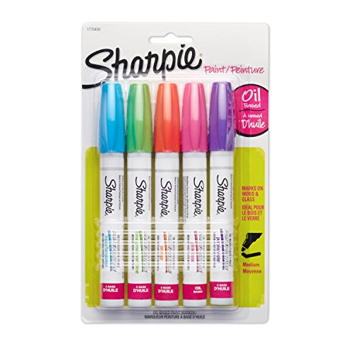 Sharpie Oil-Based Paint Markers, Medium Point, Bright Colors, 5 Count - Great for Rock - Colors Paint Oil Oil