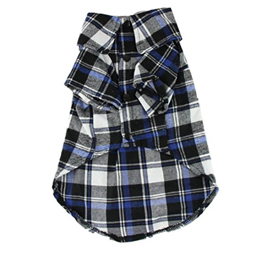 Image of OutTop Dog Clothes, Small Pet Checked Shirt Dress Shirt Coat Apparel (XS, Black.)