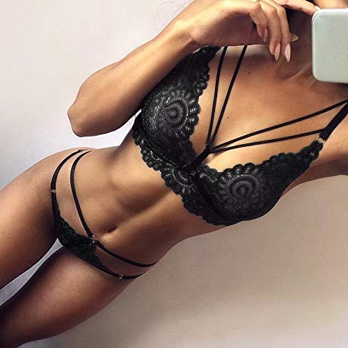 Womens Lace Lingerie Bra and Panty Set Strappy Babydoll Bodysuit