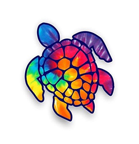 (Sea Turtle Decal/sticker (rainbow tie dye))