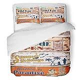 SanChic Duvet Cover Set Tiki Vintage Summer Holidays Signs Beach Bar Wood Decorative Bedding Set with 2 Pillow Shams King Size