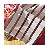 ASide BSide Chic Style Sheer Curtains Rod Pocket Color Block Striped Transparent Window Decoration For Sitting Room Houseroom and Children Room (1 Panel, W 52 x L 104 inch, Wine Red)