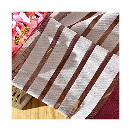 ASide BSide Chic Style Sheer Curtains Rod Pocket Color Block Striped Transparent Window Decoration For Sitting Room Houseroom and Children Room (1 Panel, W 52 x L 104 inch, Wine (Opaque Single Rod)