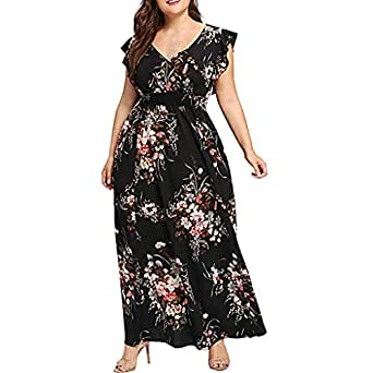 Womens Plus Size Dresses V Neck Ruffled Sleeve Floral ...