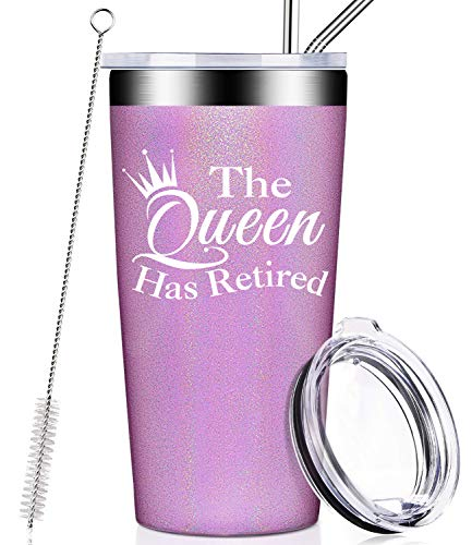 Retirement Gifts for Women, The Queen Has Retired Best Christmas Party Decorations Retirement Birthday Gifts for Mom, Grandma, Sister, Best Friend, Coworke, Teacher, Tumbler with Lid and Straw