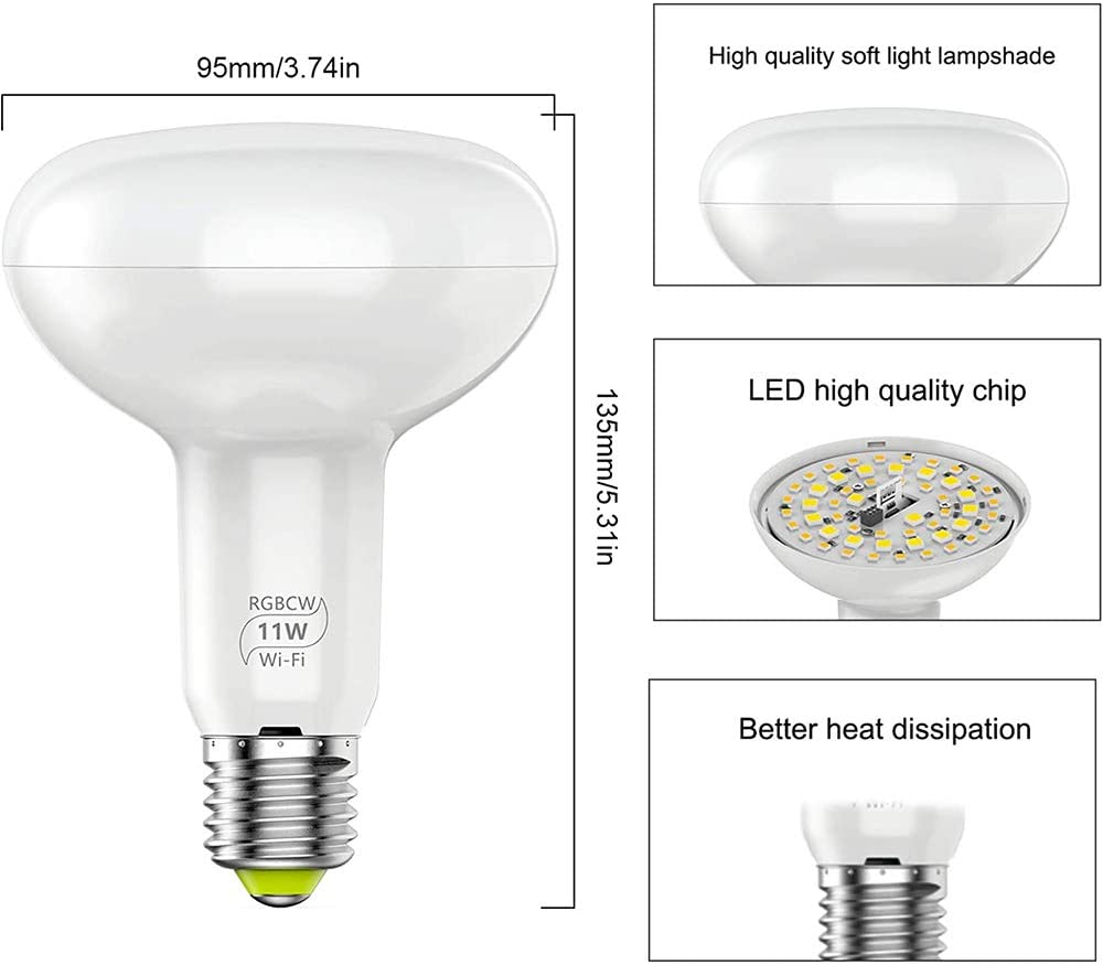 XLQF E27 WiFi LED Bulb BR30 Smart Pendant Ceiling Light 11W Desk Lamp RGB Dimmable Timmer Voice Remote Control by Alexa Google Home