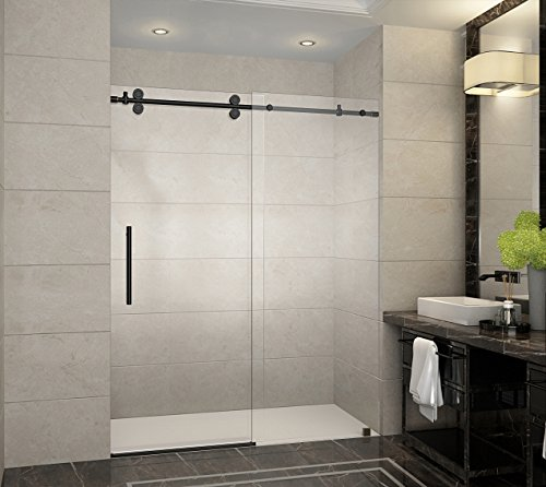 Aston SDR978-ORB-60-10 Langham x 75 in. Frameless Sliding Shower Door in Oil Rubbed Bronze with Handle Completely, 60'', Oil Rubbed Bronze Finish by Aston