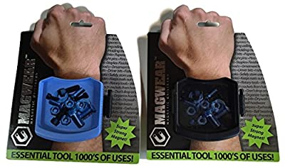 Great Gift For Men Strong Magnetic Holder Wristband- Screw & Nail - Bolts Nuts - Small Tools - Set of 2 (Blue & Black)
