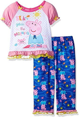 Peppa Pig Toddler Girls' Sea You in the Morning 2pc Sleepwear Set, Sea You Pink/Blue, 3T