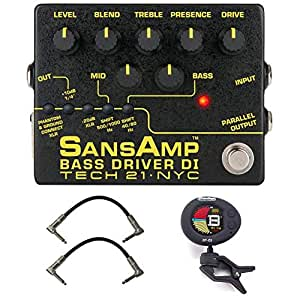 Tech 21 SansAmp Bass Driver DI V2 Bundle with 2 Patch Cables and Clip-On Tuner