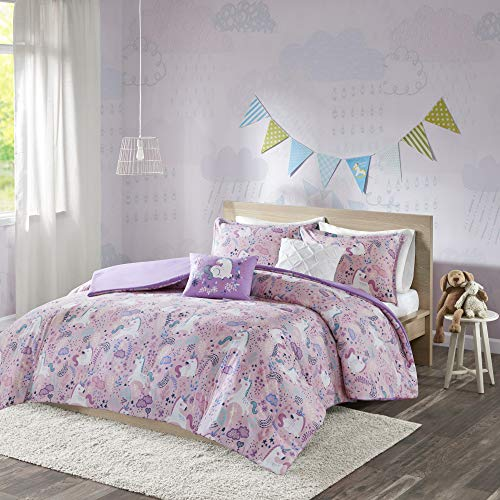 Urban Habitat Kids Lola Duvet Cover Cotton Unicorn Floral Flower Botanical Fun Embroidered Pillow Print Soft All Season Button Closure Corner Ties Bedding-Set, Full/Queen, Pink