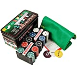 Jin ailsa Texas Hold'em Tin 200 Chips Poker Set Box with Table Cloth