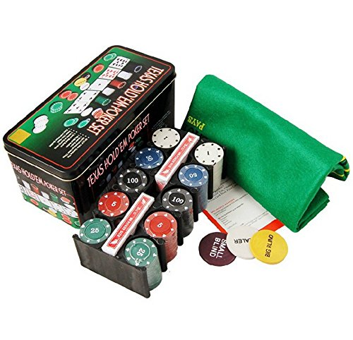 Jin ailsa Texas Hold'em Tin 200 Chips Poker Set Box with Table Cloth by Jin ailsa